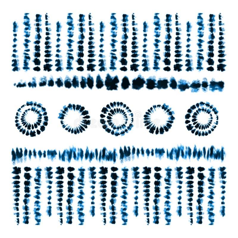 Brosses d'art de colorant de lien Copie dans le style de Shibori Ornement de ruban, ruban, frontière illustration de vecteur