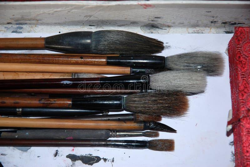 Brosses de Chinois pour la calligraphie et l'écriture photographie stock