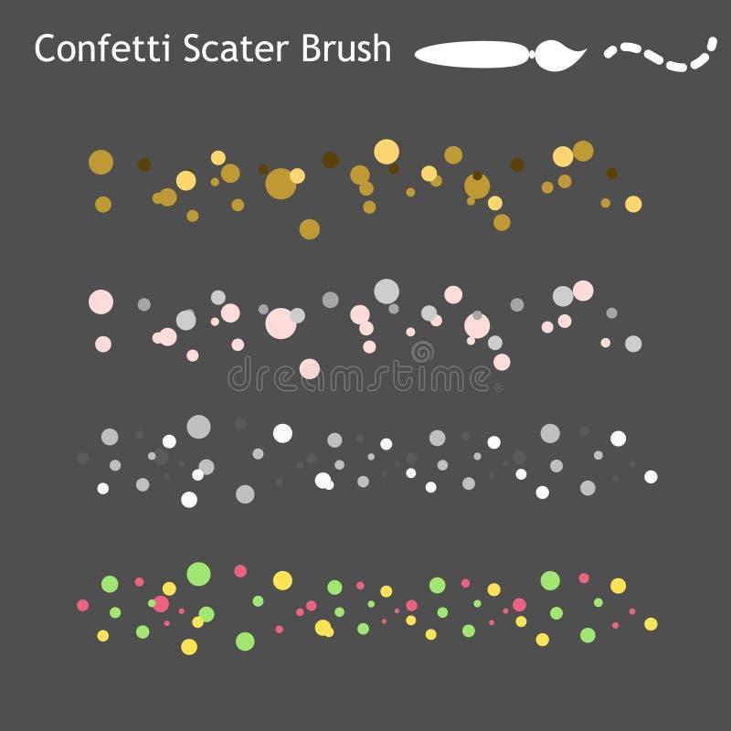 Brosses de dispersion de confettis enregistrées dans le panneau De manière opérationnelle illustration de vecteur