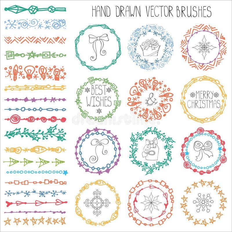 Brosses de griffonnage d'hiver Décor de Noël coloré illustration libre de droits