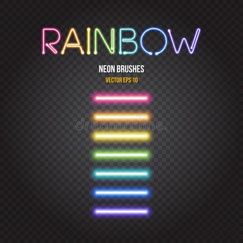 Brosses rougeoyantes de lampes au néon dans des couleurs d'arc-en-ciel illustration libre de droits