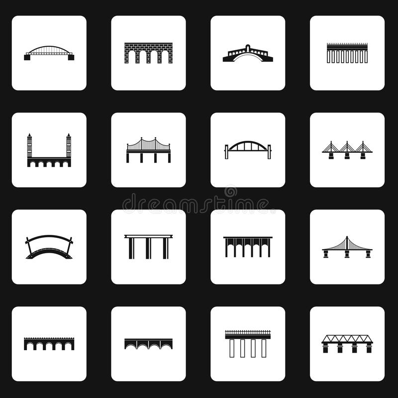 Brosymbolsuppsättning i enkel stil royaltyfri illustrationer