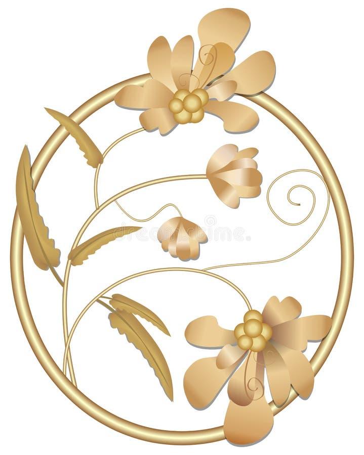 Broszka biżuteryjny motyw w złocistym okręgu z kwiatami, flancą i pączkiem, royalty ilustracja