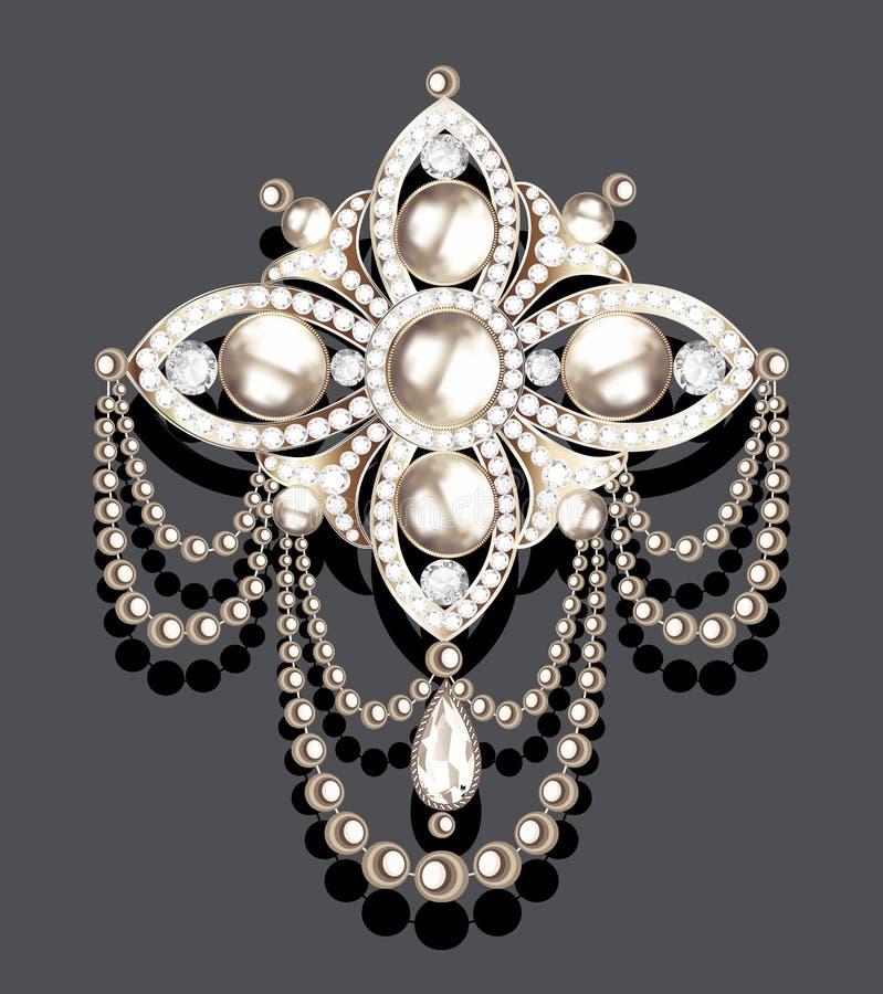 broszka rocznik z cennymi kamieniami i perłami, splendor royalty ilustracja