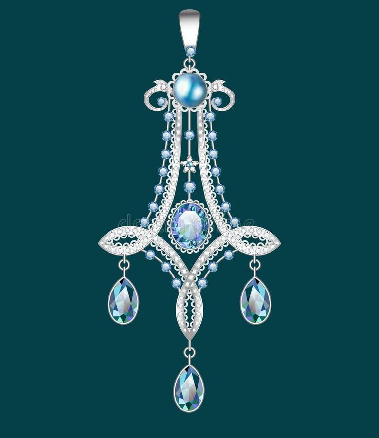 broszka z perłami i cennymi kamieniami Filigree v ilustracja wektor