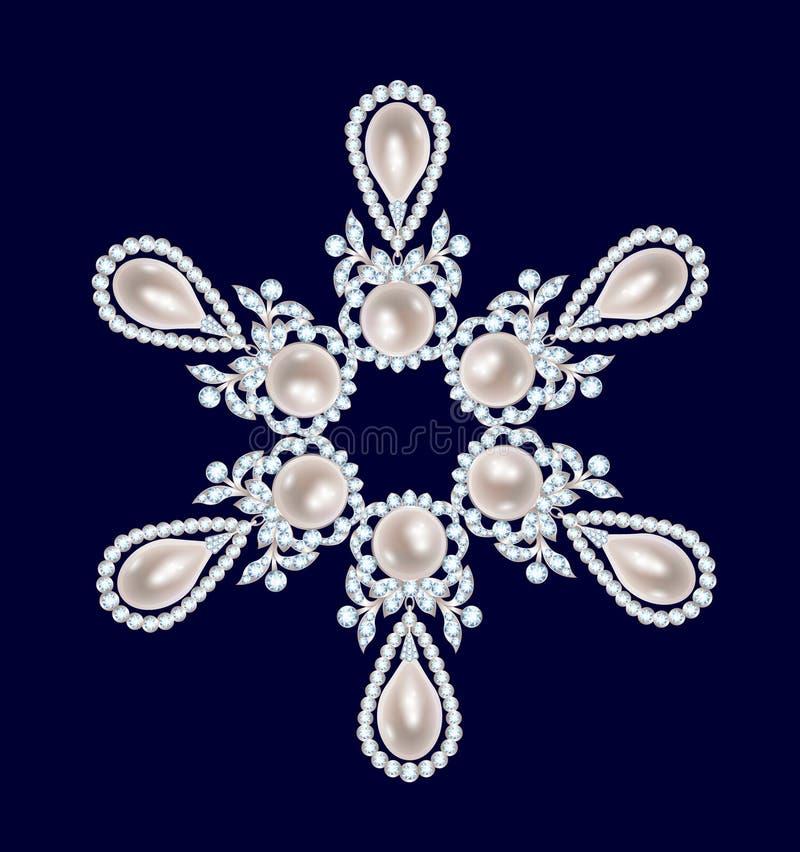 Broszka z perłami i diamentami royalty ilustracja