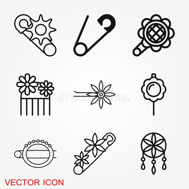 Broszki ikona Płaskiego projekta odosobnione wektorowe ilustracje ilustracja wektor