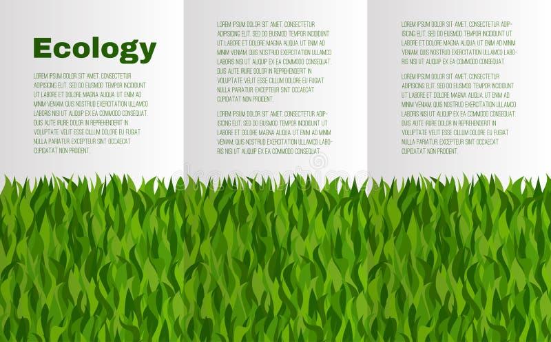 Broszura układ z zieloną trawą na temacie ekologia royalty ilustracja