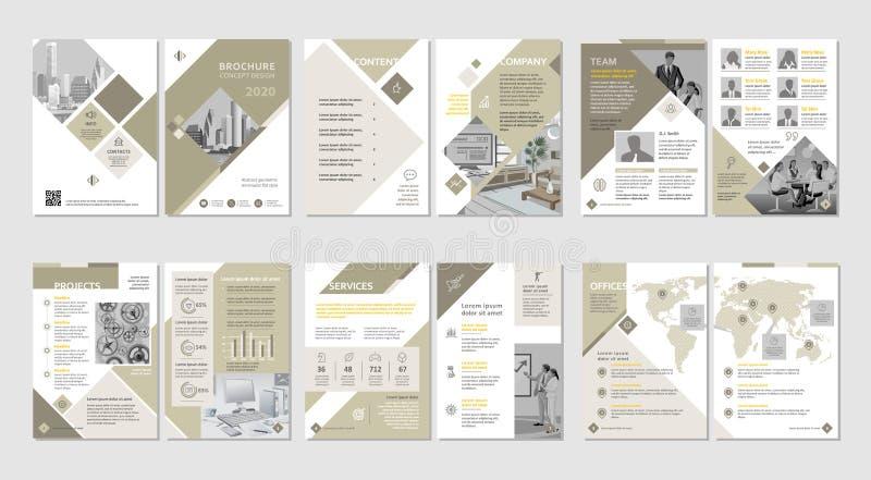 Broszurka kreatywnie projekt Wielocelowy szablon z pokrywy, plecy i inside stronami, Pionowo a4 format royalty ilustracja