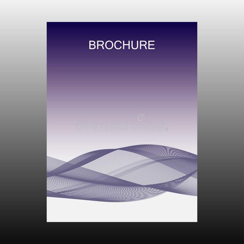 Broszurka Pokrywa broszura Szablonu projekta ulotki Niebieska linia, pasek, fala, przepływ wektor ilustracja wektor
