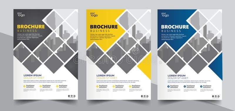 Broszurka projekt, okładkowy nowożytny układ, sprawozdanie roczne, plakat, ulotka w A4 z kolorowymi trójbokami ilustracji