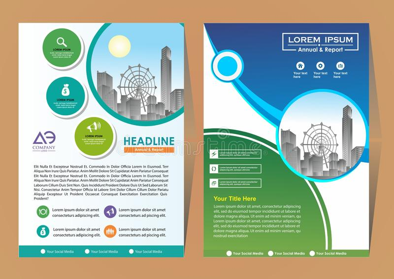 Broszurka szablonu uk?ad, ok?adkowy projekta sprawozdanie roczne, magazyn, ulotka lub broszura w A4 z b??kitnymi geometrycznymi k royalty ilustracja