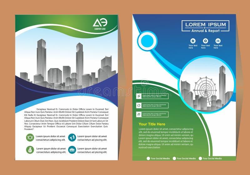 Broszurka szablonu uk?ad, ok?adkowy projekta sprawozdanie roczne, magazyn, ulotka lub broszura w A4 z b??kitnymi geometrycznymi k ilustracja wektor