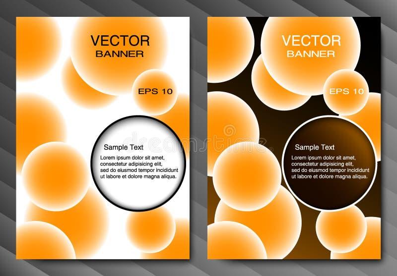 Broszurka sztandar lub szablon Pomarańczowe piłki i miejsce dla teksta pochodzenie wektora abstrakcyjne Zmroku i światła wersja royalty ilustracja