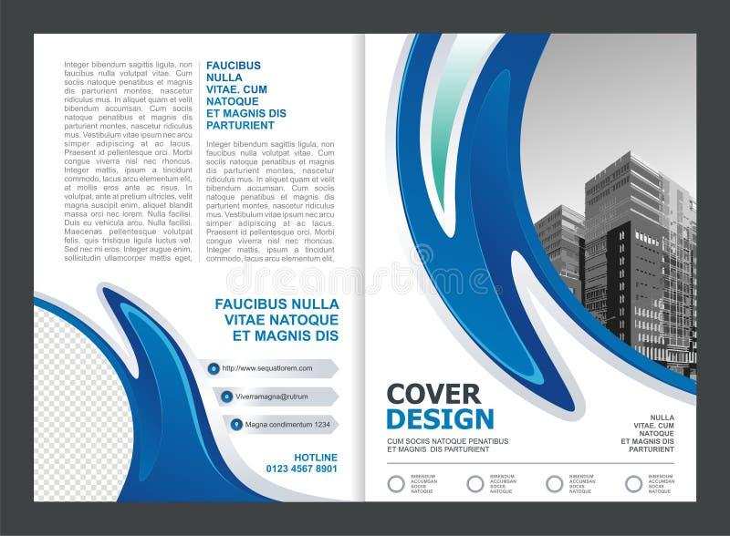 Broszurka, ulotka, szablonu projekt z Błękitnym i Białym kolorem ilustracji
