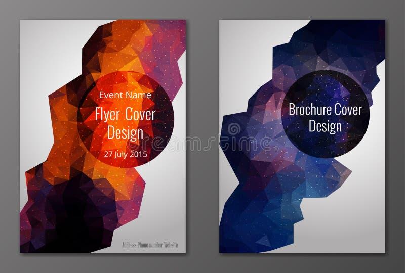 Broszurki i ulotki pokrywy poligonalny set ilustracji