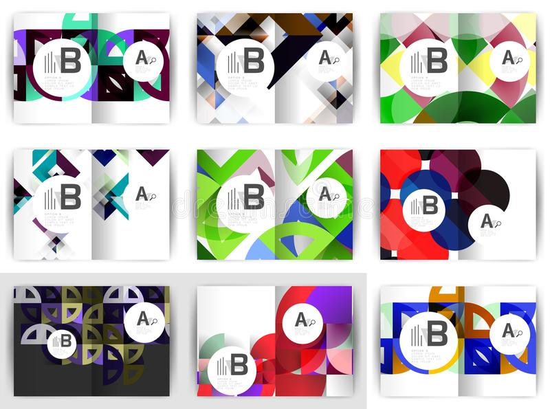 A4 broszurki szablony, geometryczny projekt, set tła ilustracja wektor