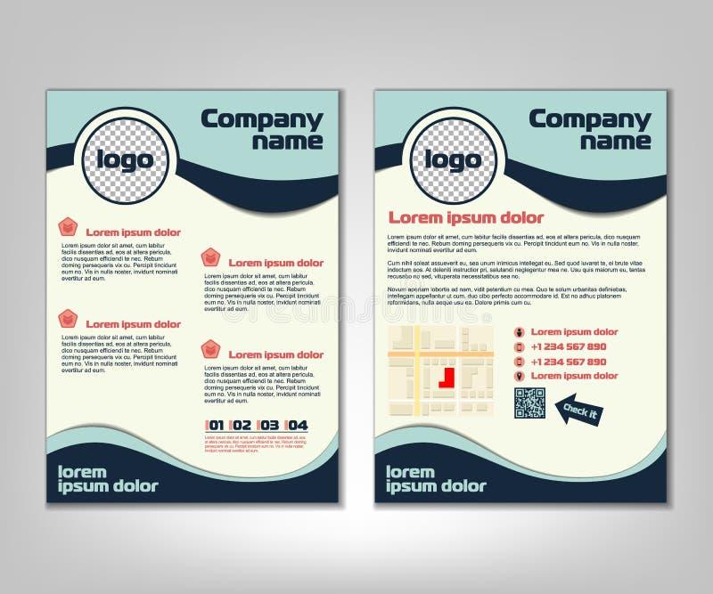 Broszurki ulotki projekta układu szablon Przodu i plecy strona w A4 rozmiarze Biznesowy tło z marketingowymi ikonami i infographi royalty ilustracja