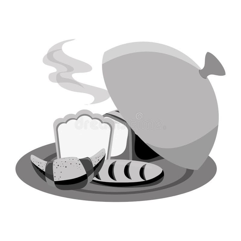 Brot in der Behältermenüikone lizenzfreie abbildung