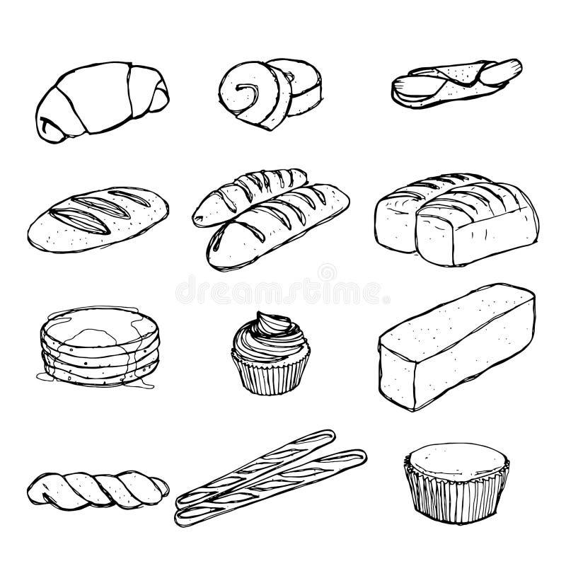 Brot-Handzeichnung gesetzte ENV 10 stock abbildung