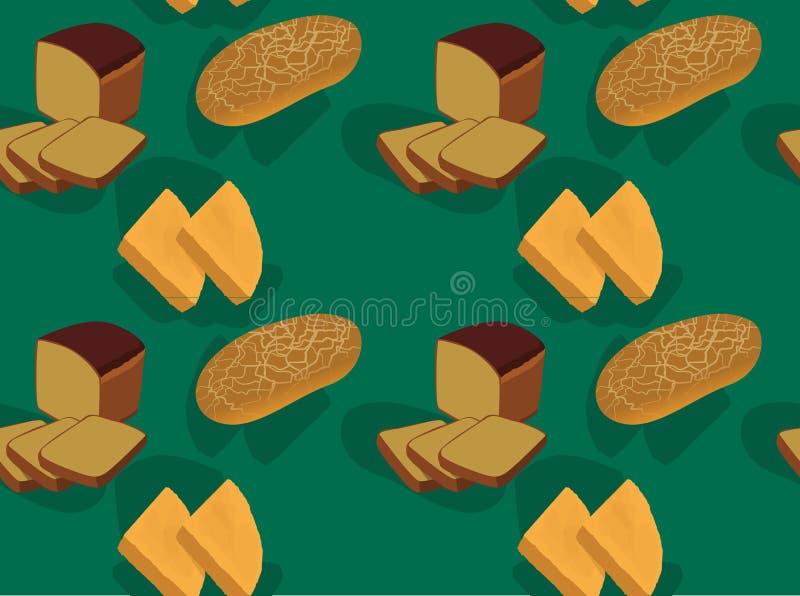 Brot nettes Borodinsky Bammy Tiger Green Background Seamless Wallpaper lizenzfreie abbildung