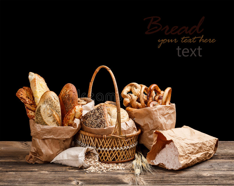 Brot-Stillleben stockfoto