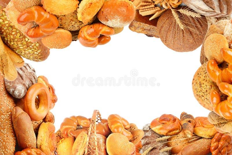 Brot- und Bäckereiprodukte lokalisiert auf Weiß collage lizenzfreie stockfotos