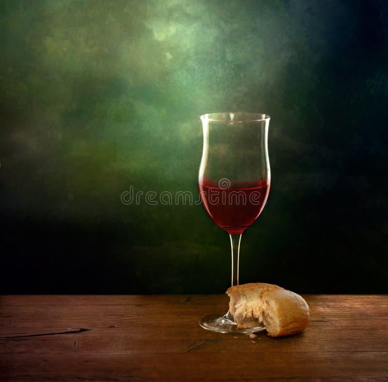 Brot- und Weinstillleben Künstlerisches Bild lizenzfreies stockbild