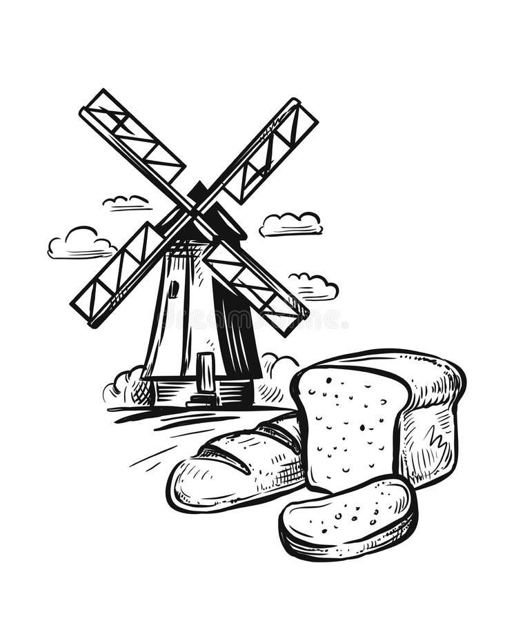 Brotbäckerei und -mühle lizenzfreie abbildung