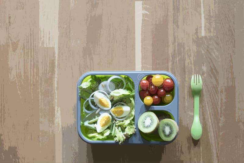 Brotdose mit Nahrung auf Holztisch lizenzfreie abbildung