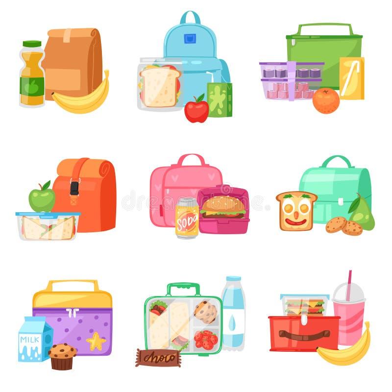Brotdosevektor-Schulelunchbox mit gesunden Lebensmittelfrüchten oder -gemüse boxte - im Kinderbehälter im Taschenillustrationssat lizenzfreie abbildung