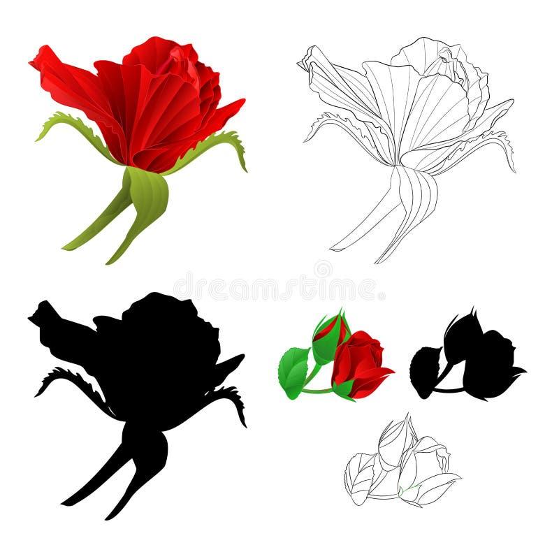 Brote de flor color de rosa rojo natural y ejemplo festivo del vector del esquema y del fondo del vintage de la silueta editable libre illustration