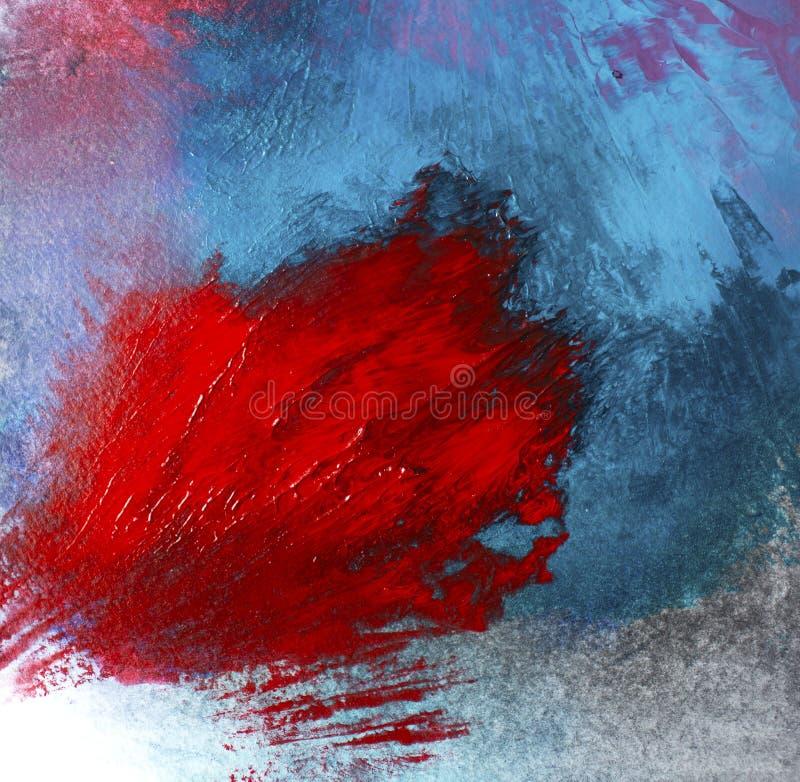 Brote de la flor color de rosa floral de acrílico del extracto solo en aire libre azul fotografía de archivo libre de regalías