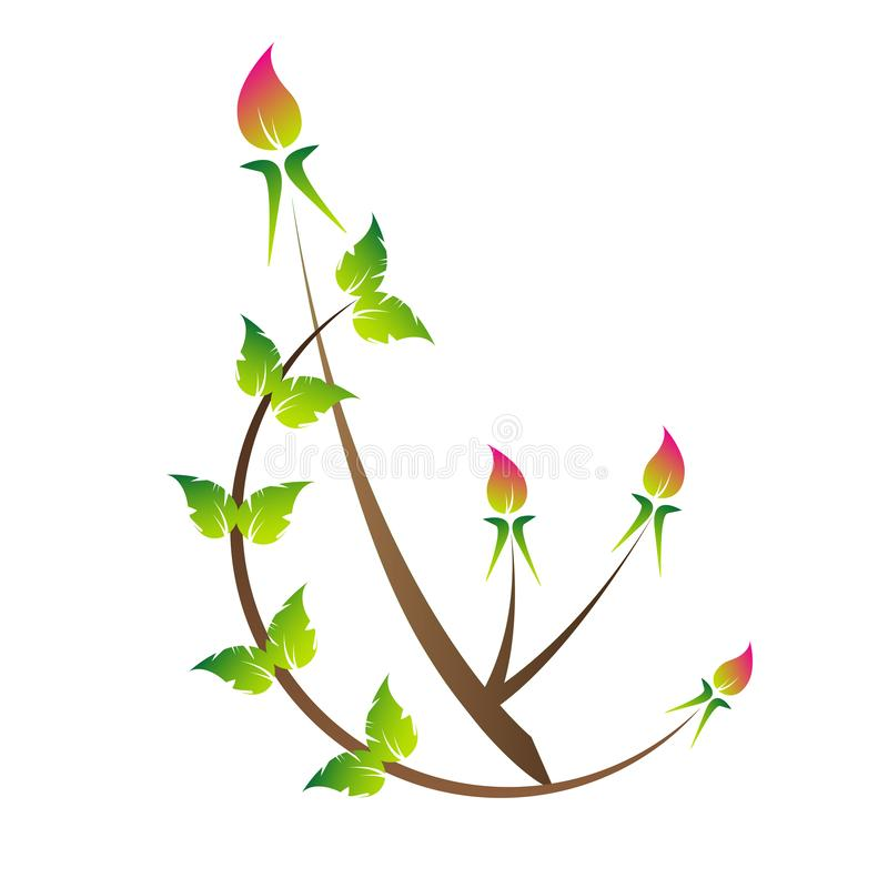 Brote del ROS hojas del verde brote hermoso del ROS ilustración del vector