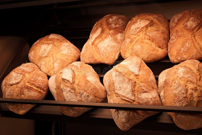 Brote im Regal in der Bäckerei lizenzfreies stockfoto