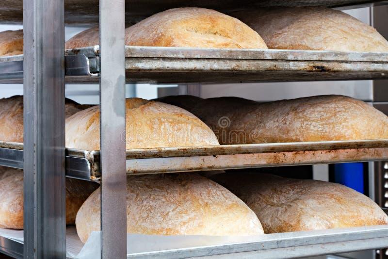 Brote im Regal in der Bäckerei stockfotos