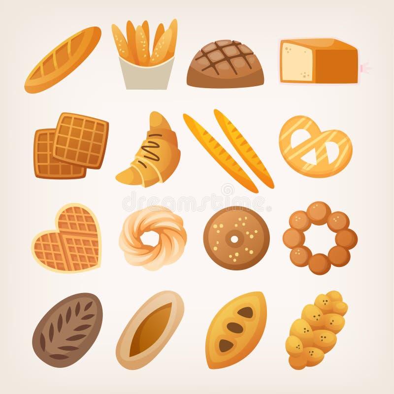 Brote und Brötchen zum Frühstück lizenzfreie abbildung