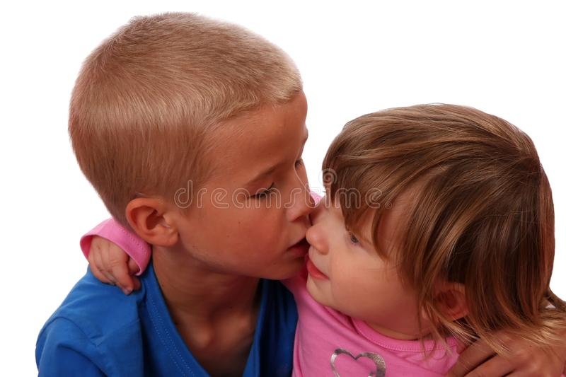 Brother Kissing Sister royalty free stock photos