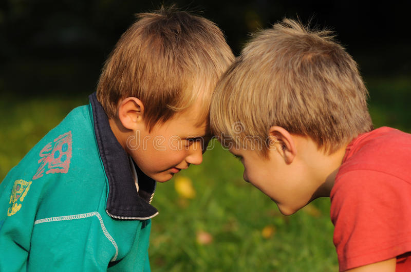 Brother rivalry royalty free stock photography
