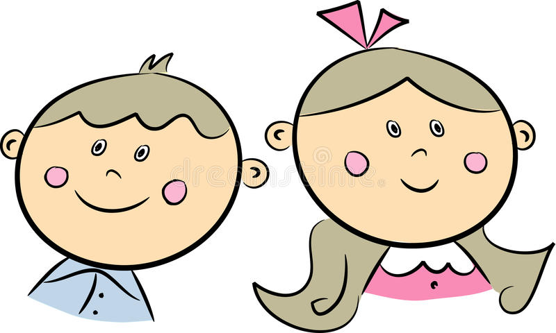 Brother and sister. Cartoon illustration of happy siblings: Younger brother, older sister vector illustration