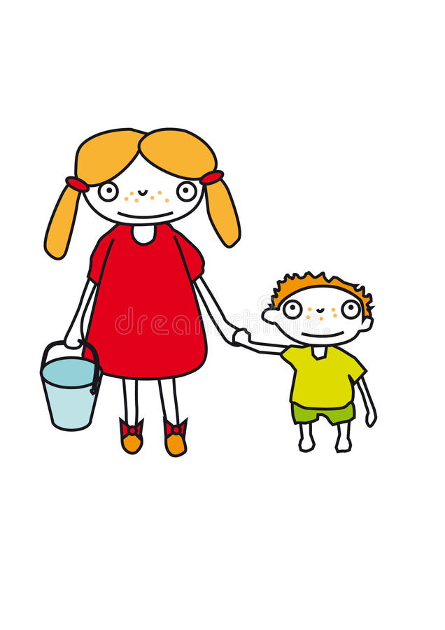 Brother and sister. A big sister holding a small bucket in one hand and her younger brother in her other hand royalty free illustration