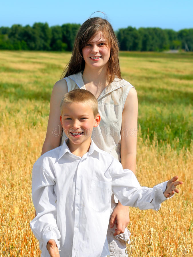 Download Brother and sister stock photo. Image of field, outing - 15929010