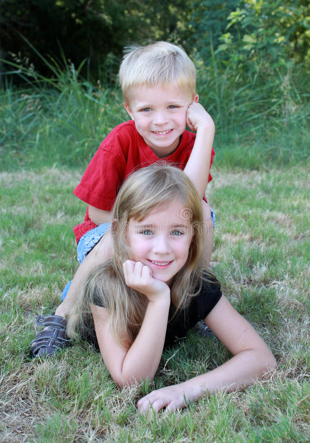 Download Brother and Sister stock photo. Image of blond, portrait - 20907442
