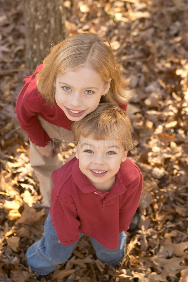 Download Brother and sister stock photo. Image of woods, fall, girl - 450480