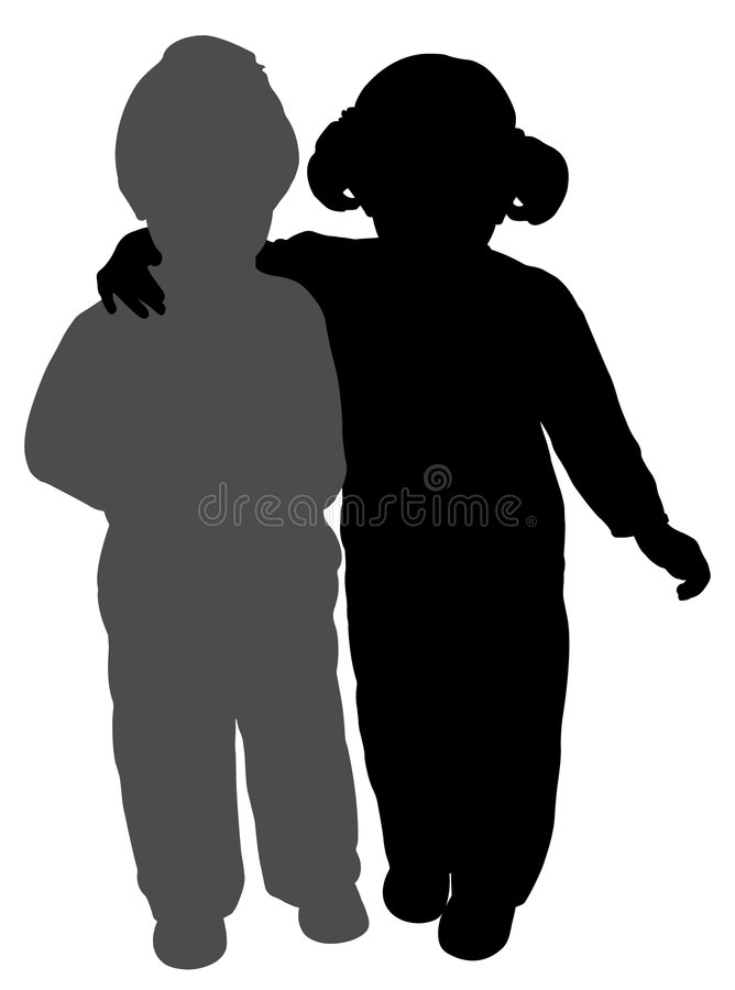 Brother and sister. Silhouettes of a brother and a sister. Isolated white background. EPS file available stock illustration