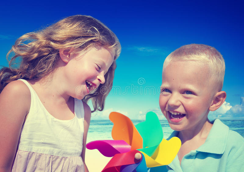 Brother Sister Beach Bonding Holiday Travel Concept royalty free stock photo