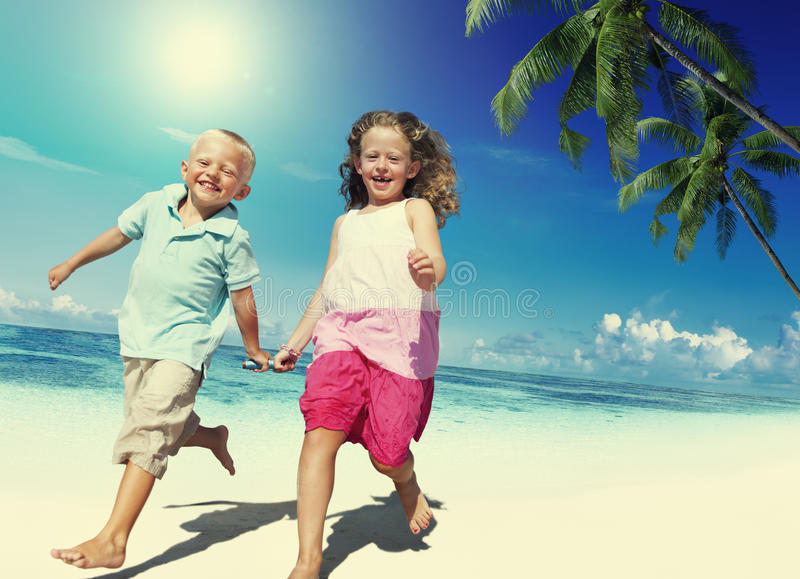 Brother Sister Beach Bonding Holiday Travel Concept.  royalty free stock images