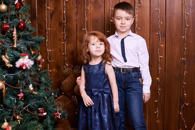 Brother and sister. Christmas interior. Small children. Family portrait. Brown background royalty free stock photo
