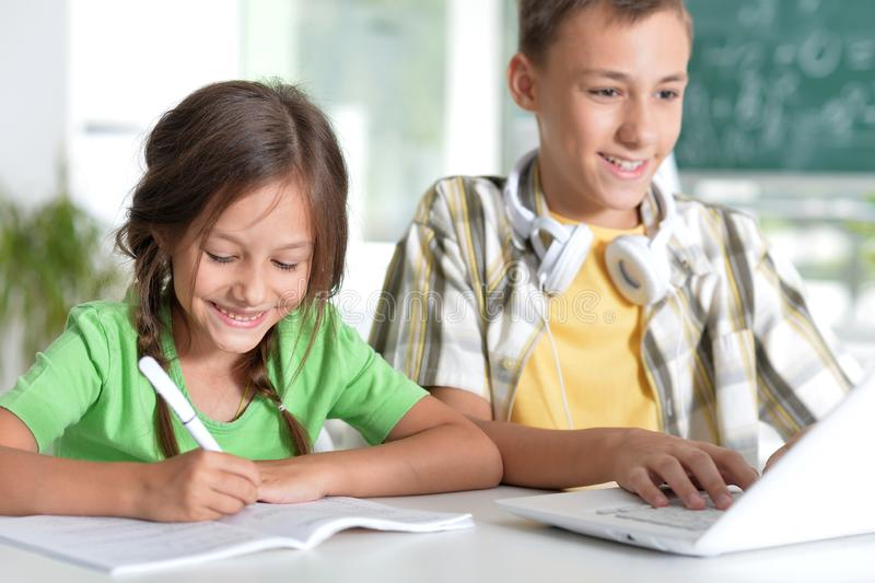 Portrait of brother and sister doing homework together royalty free stock image