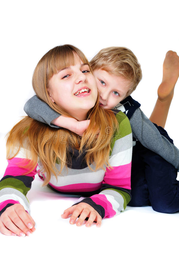 Download Brother And Sister Having Fun Over The White Stock Image - Image: 13398677